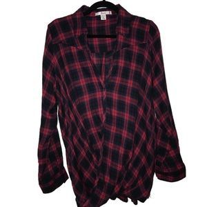 Plaid Flannel Wrap L/S Top Rosio USA 3X BNWOT